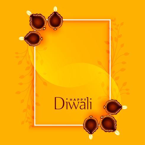 feliz diwali saudação com diya e espaço de texto