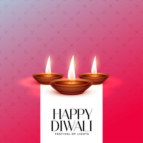 Plantilla elegante del diseño de la tarjeta del festival de Diwali con diya ardiente