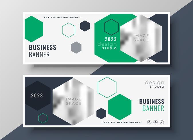 modern geometric business banners set template design