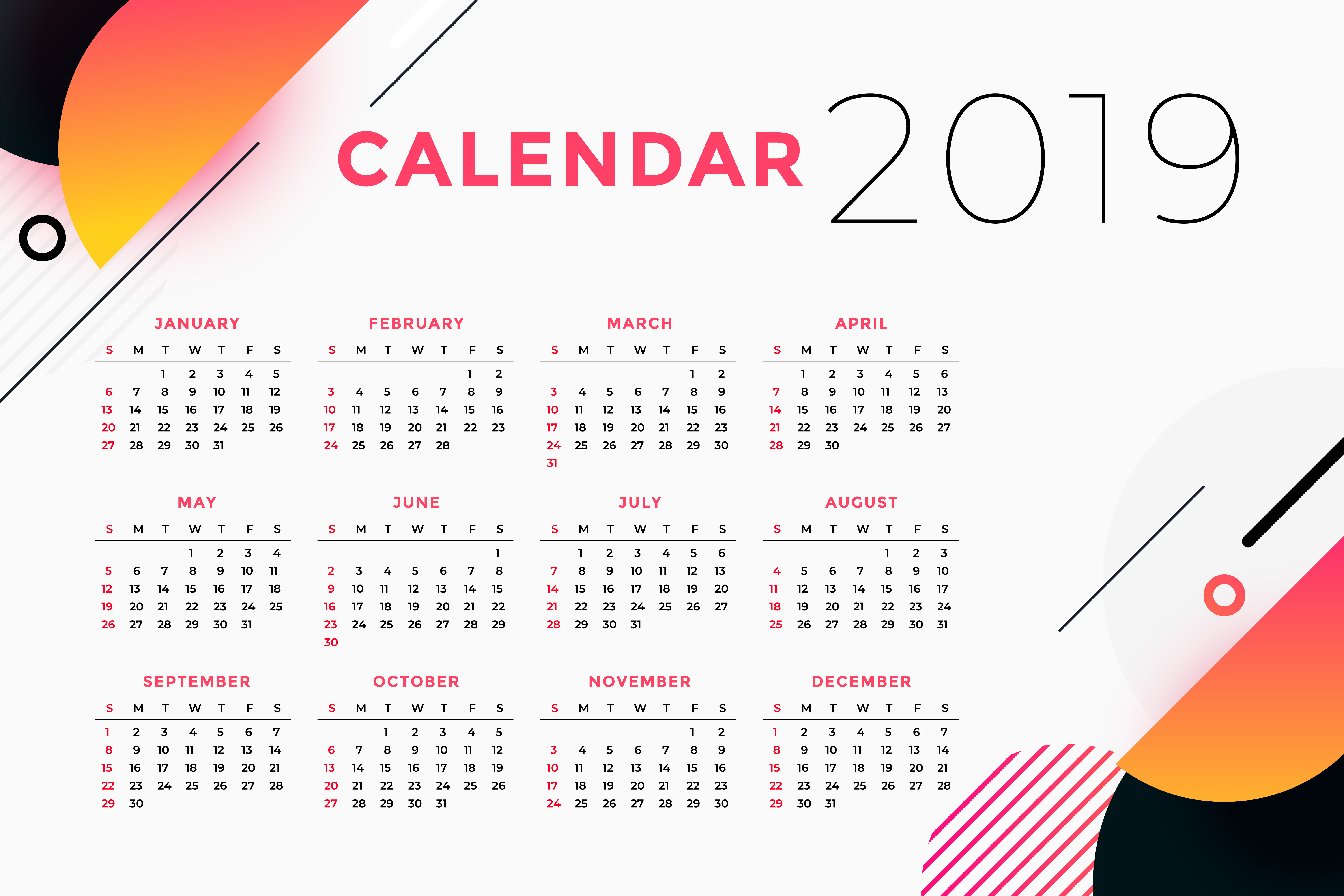 creative abstract 2019 calendar design - Download Free ...