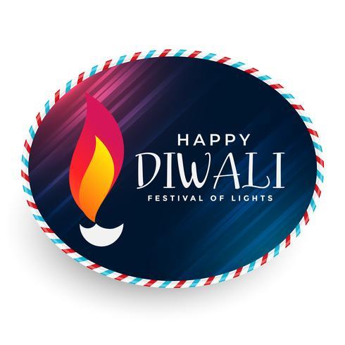 conception de l'étiquette joyeux diwali diya
