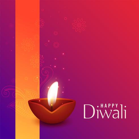 beautiful illustration of burning diwali diya