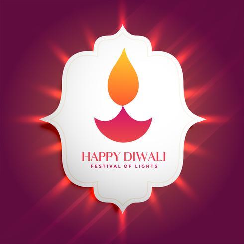 cadre de cadre magnifique diwali diya rougeoyant