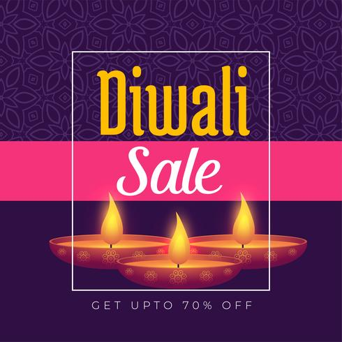 Festival de diwali oferta diseño de plantilla de cartel con diya ardiente