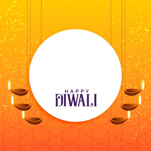 elegant diwali card design with hanging diya decoration