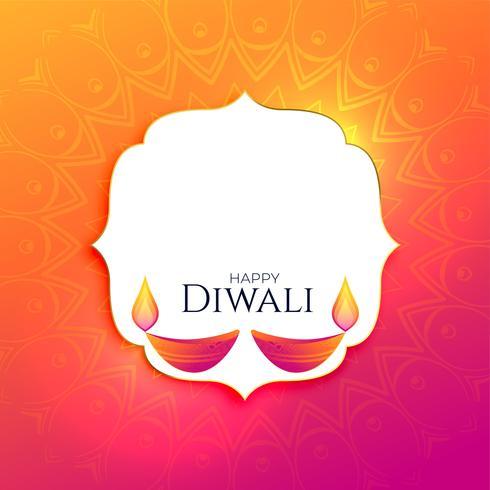 Fondo feliz festival diwali con espacio de texto