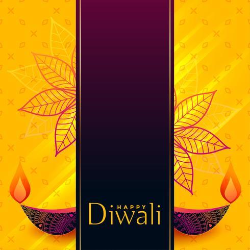 design creativo di banner di diwali con decorativi diya
