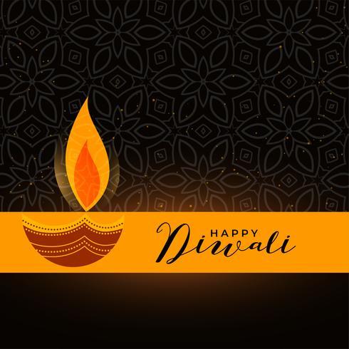 design de diya diwali artística em fundo escuro