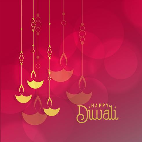 conception de cartes de voeux festival diwali avec pendaison diya