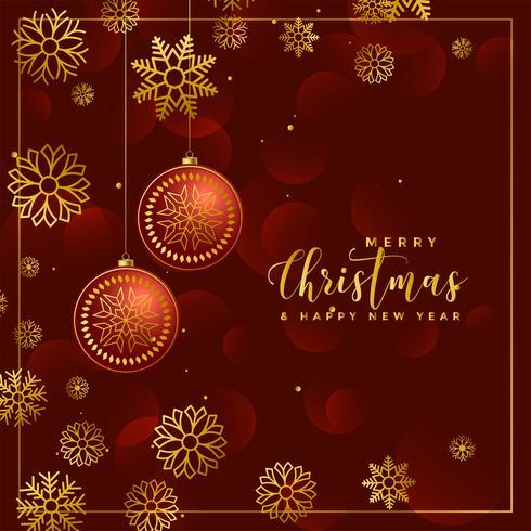 Fondo de lujo de bolas de Navidad y copos de nieve decoración