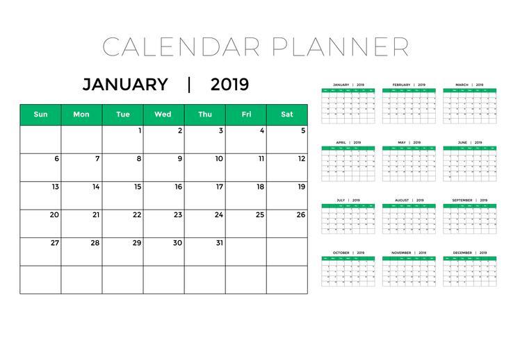 Modelo de design de planejador de calendário 2019