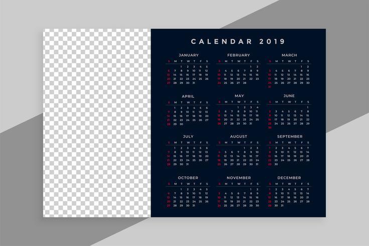 Kalenderdesign des neuen Jahres 2019 mit Bildraum