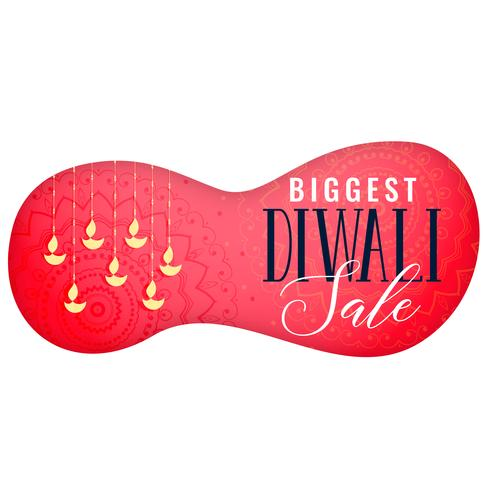 banner de venda diwali com pendurar a arte diya