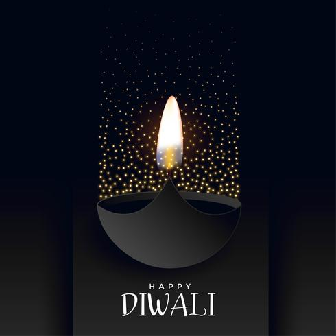 happy diwali dark background with sparkles