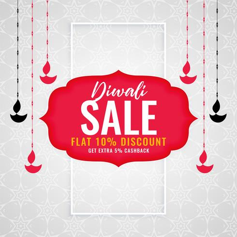 diwali season sale background with hanging diya