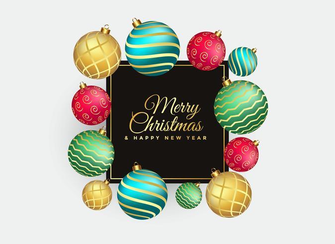 elegant merry christmas background with balls decoration