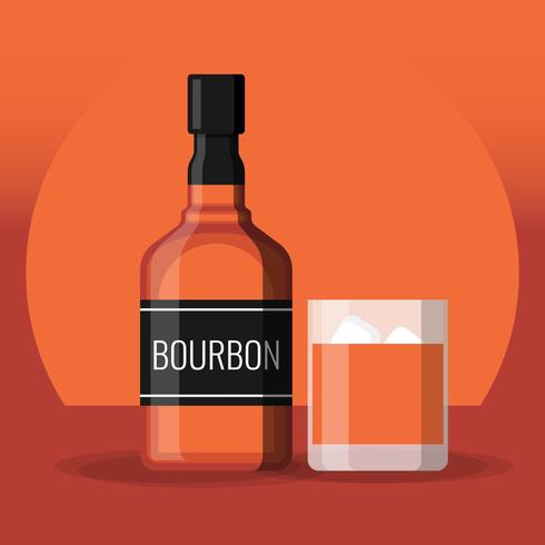 Bottle Of Bourbon Whiskey And Glass With Ice Illustration