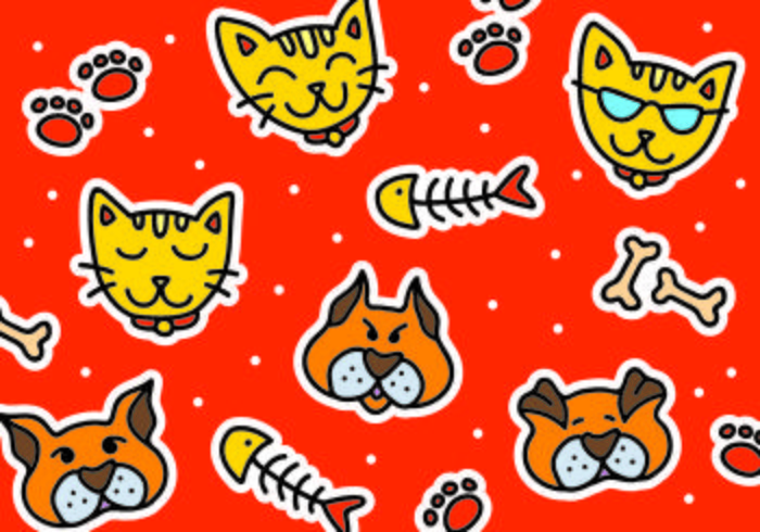 Gato e cão conjunto de adesivos