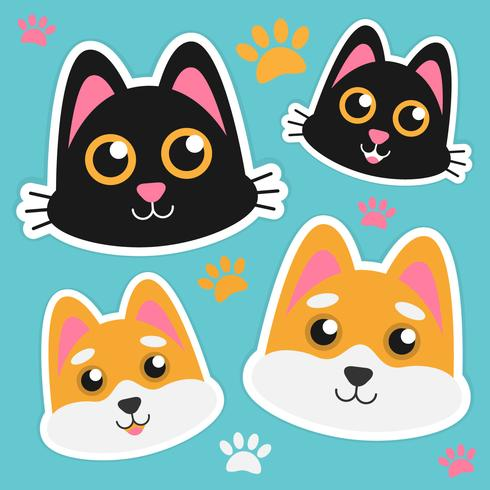 Nette Katze und Dogl stellen Aufkleber gegenüber