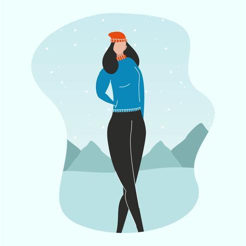 portrait de modèle en plein air d'hiver