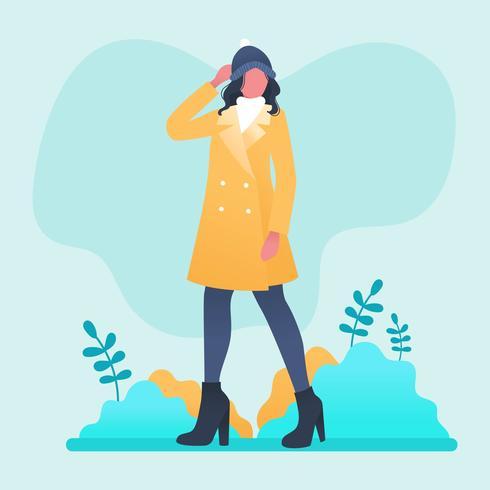 Modèle portrait, vecteur, dehors, hiver vecteur