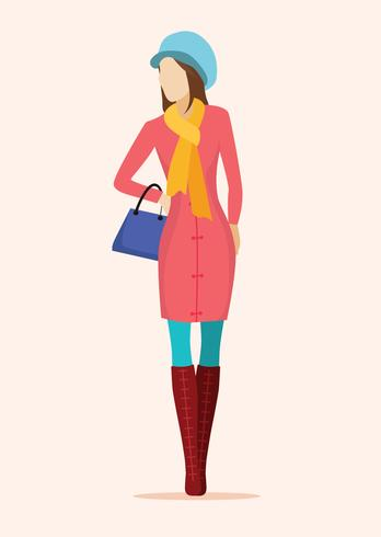 Model in winter outfit vector