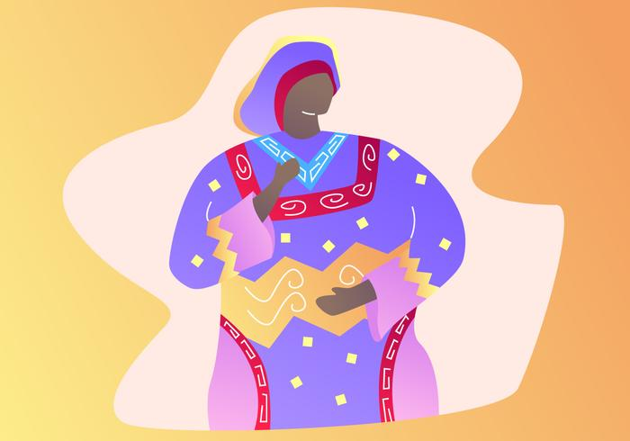 Belle femme dans kaftan vecteurs