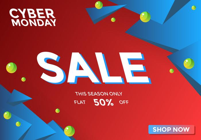 Red And Blue Cyber Monday Sale Social Media Post Vector
