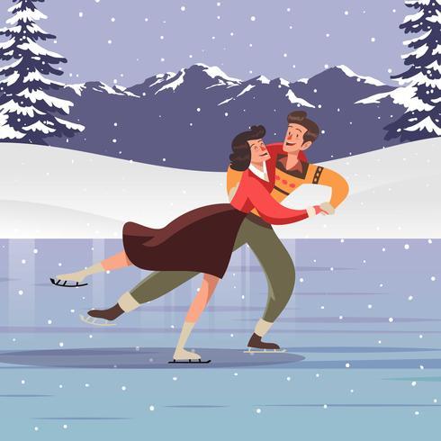 Casal pessoas patinação no gelo