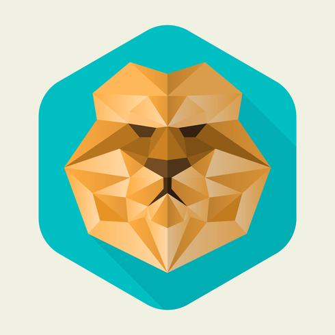 Flat Geometric Lion Simple Shape Vector Illustration