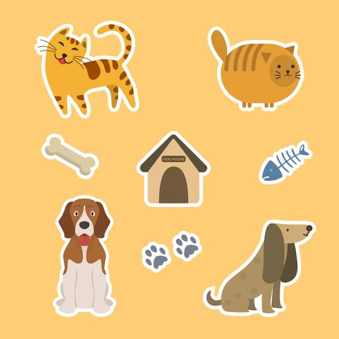 Platte Cute kat en hond Sticker sjabloon vectorillustratie