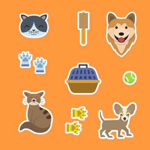 Platte kat en hond Sticker sjabloon vectorillustratie