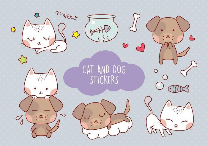 Netter Katzen- und Hundeaufkleber