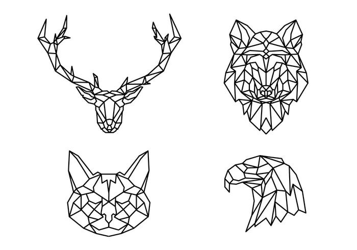Forma de animais de linha geométrica