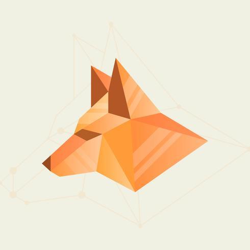 Ilustração em vetor simples forma geométrica plana Fox