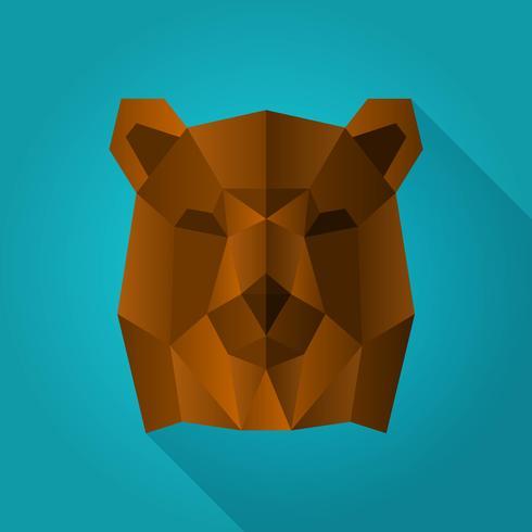 Platt Geometrisk Enkel Grizzly Bear Shape Animal Vector Illustration
