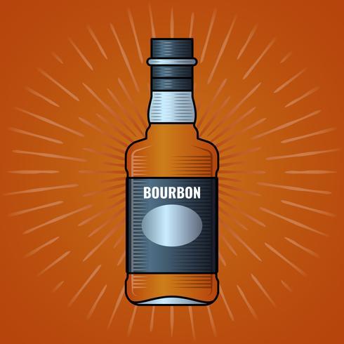 Etiqueta de la botella de whisky grabado ilustración vintage