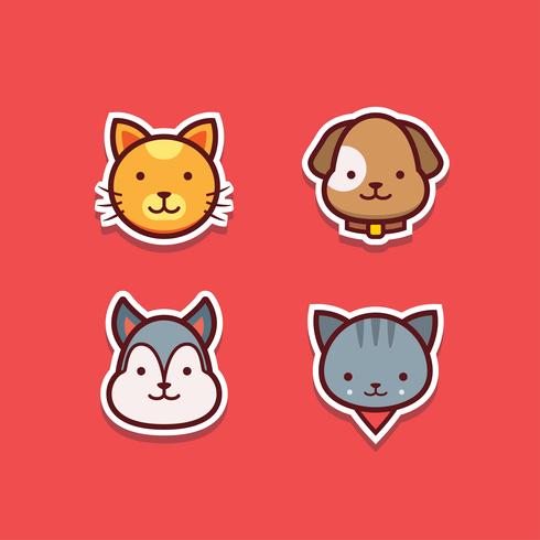 Vector de pegatinas de perros y gatos