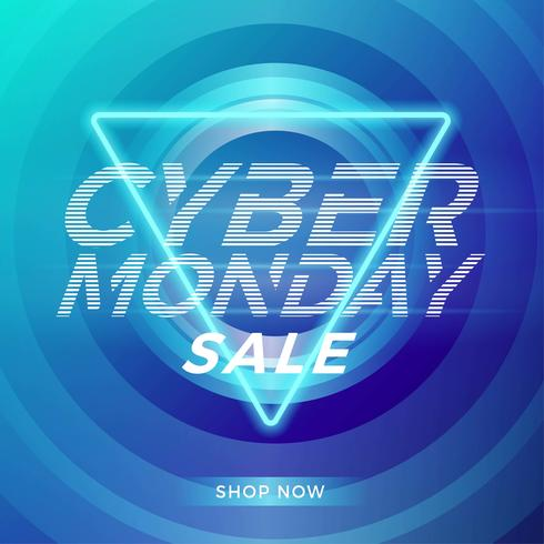 Cyber Monday Neon Blue Social Media Template