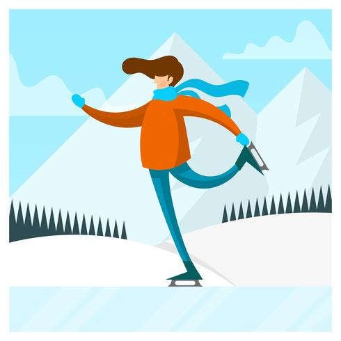 Flat Man Play Ice Skating Vector Illustration