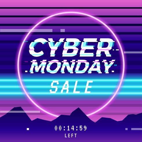 Cyber Monday Vaporwave Glitch Social Media Template