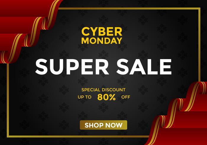 Cyber Monday Super Venda Social Media Post Vector