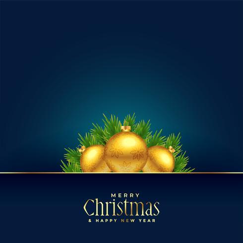 belle palle d'oro di Natale allegro saluto con lo spazio del testo