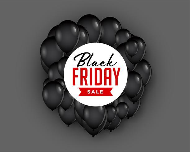 zwarte vrijdag verkoop achtergrond met vliegende ballon