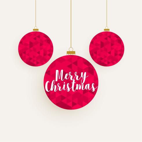 creative red geometric pattern christmas balls decoration backgr