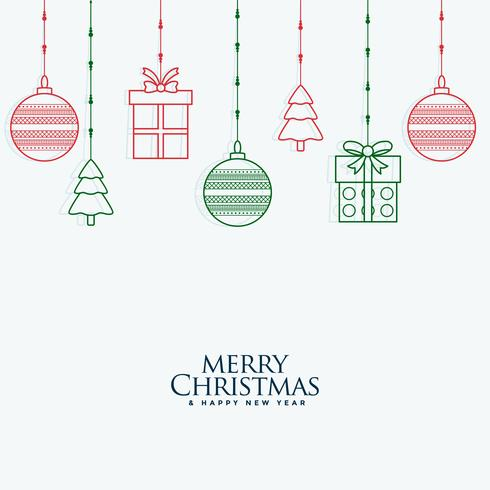 merry christmas decorative elements hanging background