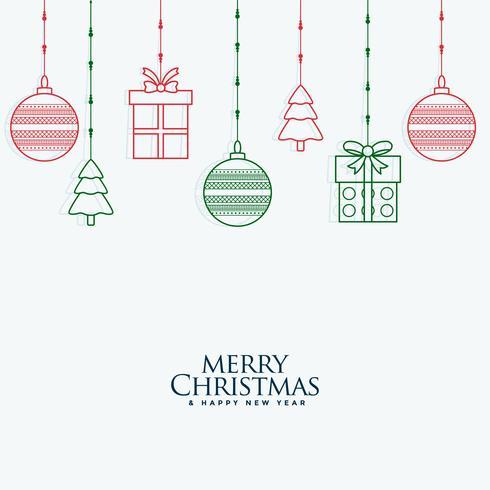dekorative Elemente der frohen Weihnachten, die Hintergrund hängen