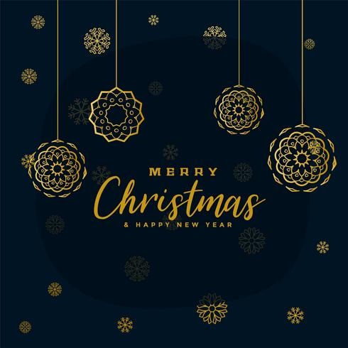 elegante sfondo nero e dorato di fiocchi di neve di Natale allegro