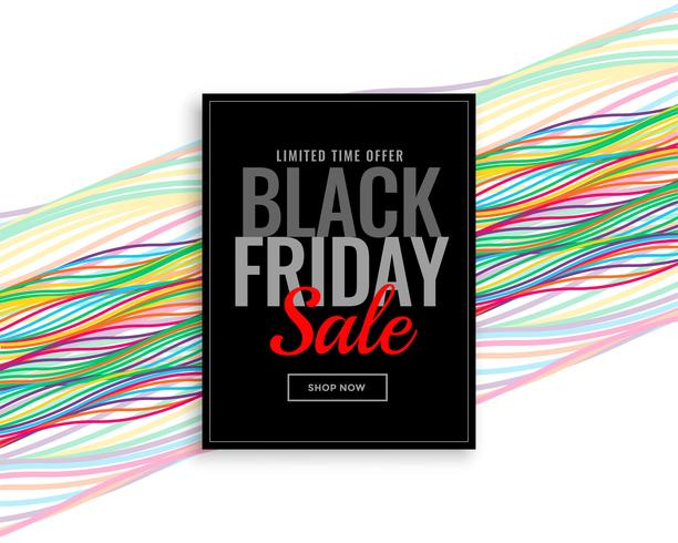 moderne schwarze Freitag-Verkaufsfahne mit bunten Wellenlinien