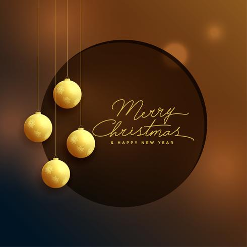 elegant golden christmas balls on bokeh background